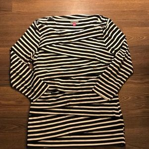 Vince Camuto Black + White Stripe Ruched Tee PL